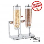 Dispenser Cereais Kit 2pç 7,4l Inox Acrilico Hercules Dc30-1